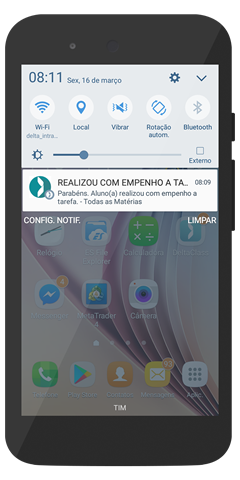Notificação 01 do Aplicativo Escolar DeltaClass