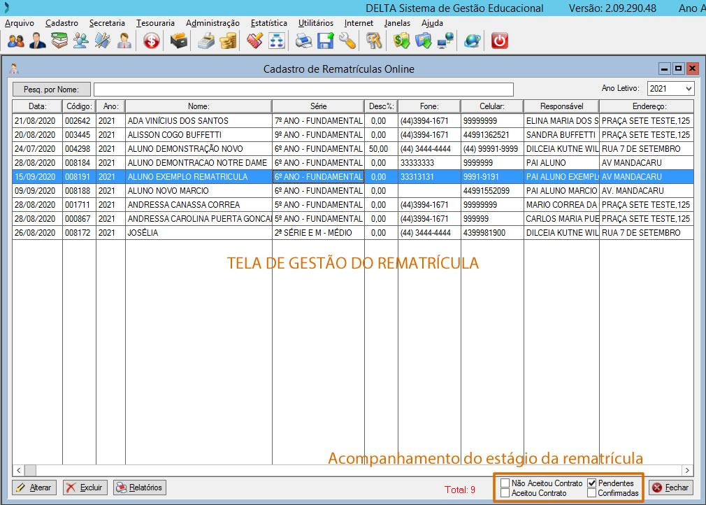 Rematricula online sistema de gestão escolar